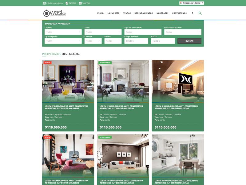 Diseño para página web de negocios inmobiliarios Wasi
