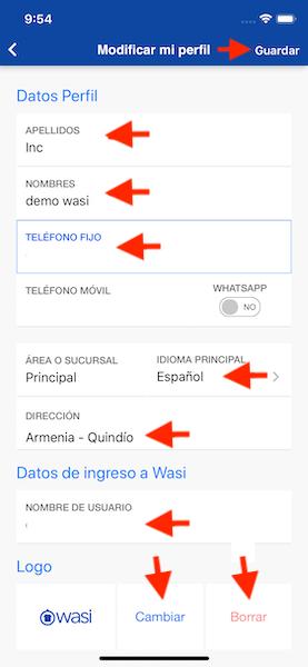 Configura tu perfil en Wasi