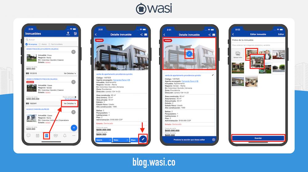 Organizar imágenes de inmueble desde Wasi móvil