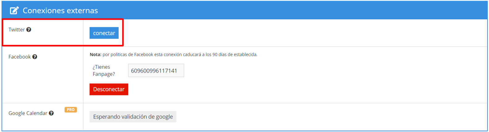 Conectar twitter con Wasi